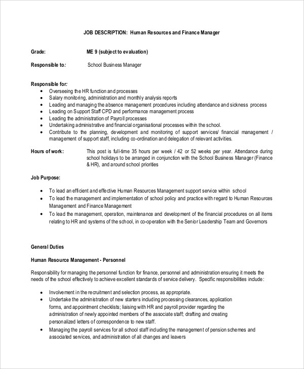 10+ Financial Manager Job Description Samples Sample Templates - service manager job description