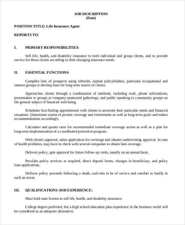 Sample Insurance Agent Job Description - 7+ Examples in PDF