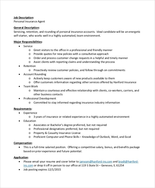 7+ Insurance Agent Job Description Samples Sample Templates