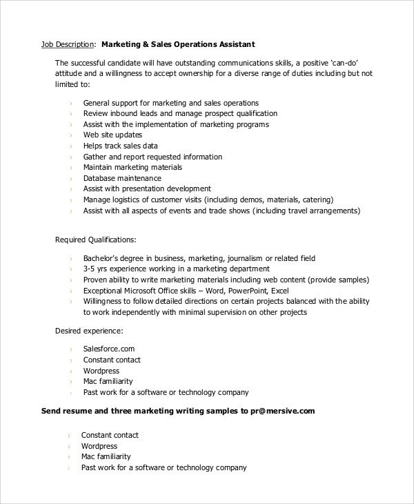 10+ Marketing Assistant Job Description Samples Sample Templates