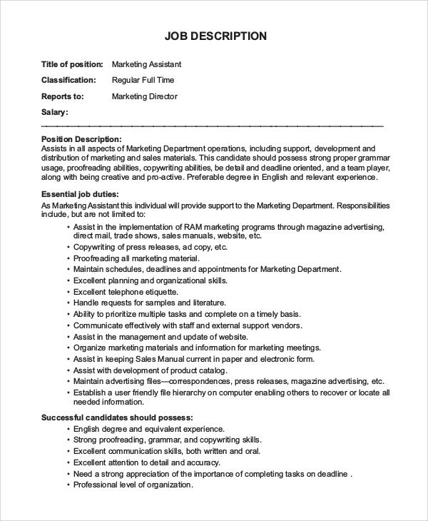 10+ Marketing Assistant Job Description Samples Sample Templates - responsibilities of a marketing director