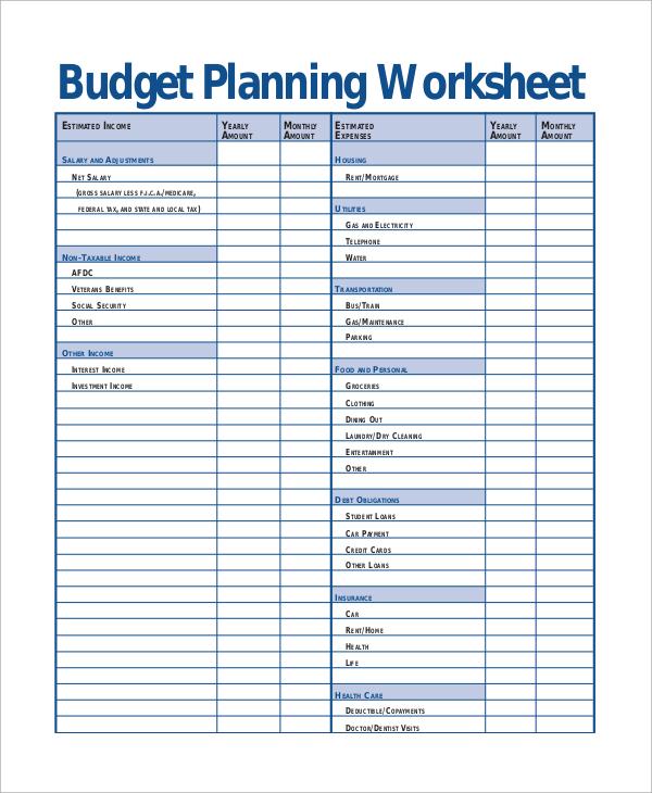 Printable Budget Worksheet Sample - 8+ Examples in Word, Excel, PDF