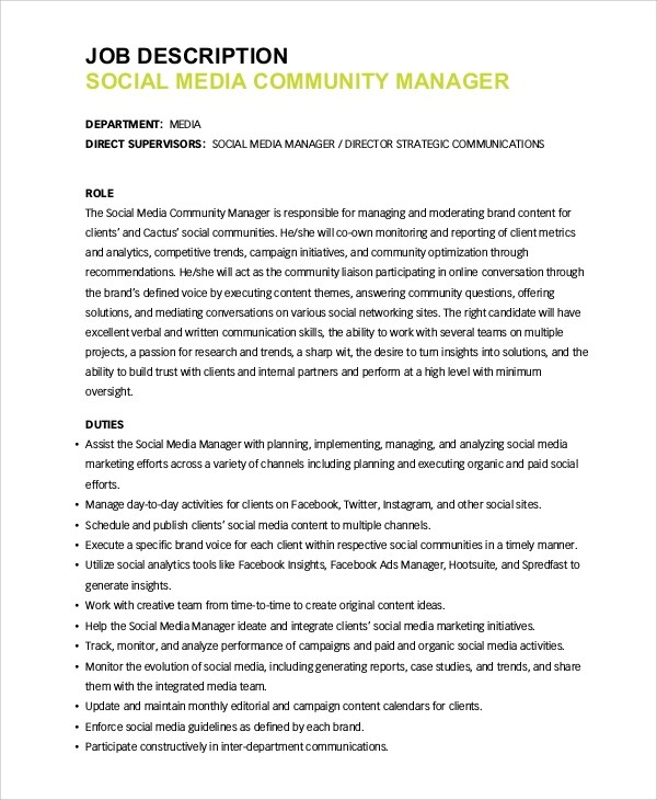 media responsibilities Social media managers are the voice of companies on social and digital media sites like twitter, facebook, youtube, four square, instagram, etc ever liked a company on facebook that account is managed by a social media manager.