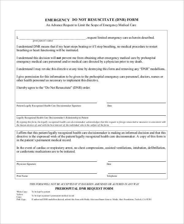 10+ Sample Do Not Resuscitate Forms Sample Templates - do not resuscitate forms