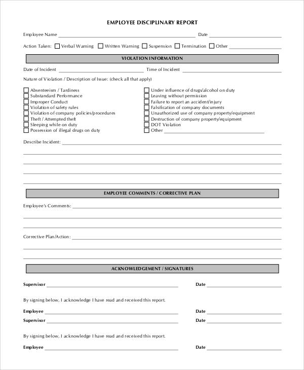 employee discipline report