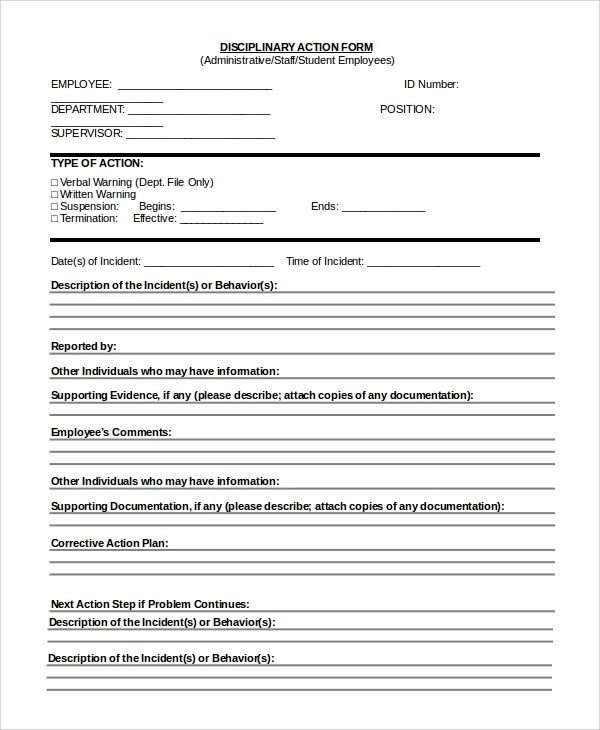Sample Employee Discipline Form - 10+ Examples in PDF, Word