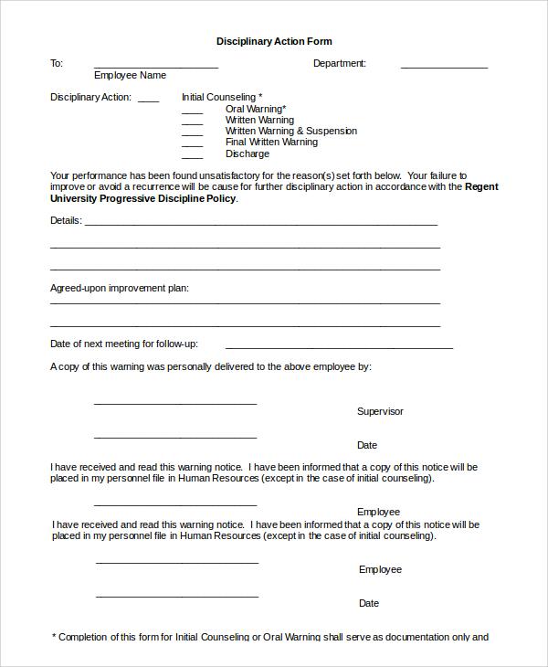 employee discipline form template - Teacheng