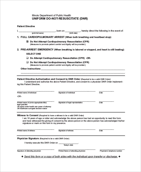 dnr form for illinois - Solidgraphikworks