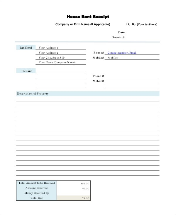 Free Printable Receipt - 10+ Examples in Word, PDF