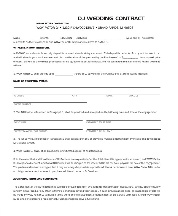 10+ DJ Contract Samples Sample Templates - contract paper sample