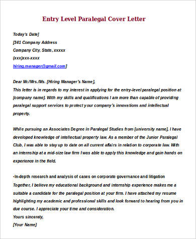 9+ Sample Entry Level Cover Letters Sample Templates