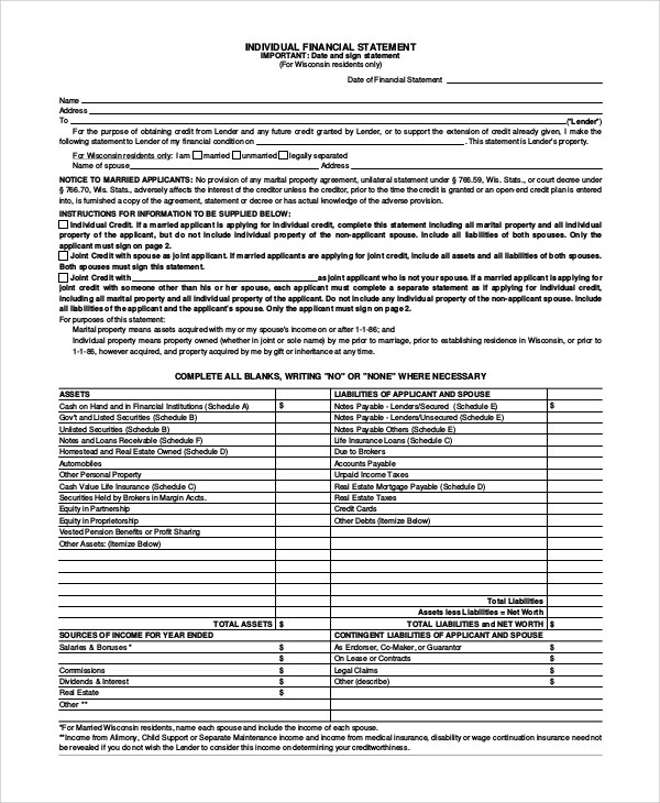 Sample Financial Statement Form - 10+ Examples in PDF, Word