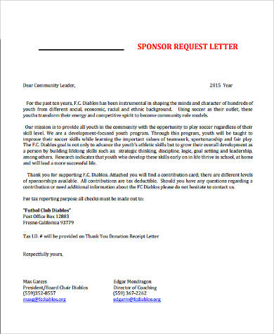 9+ Sample Sponsorship Letters Sample Templates