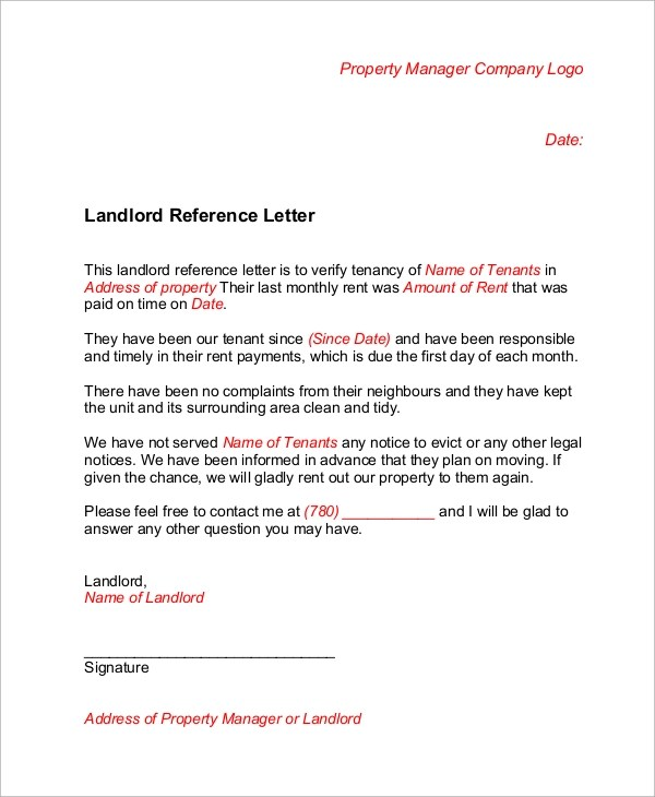 Sample Landlord Reference Letter - 6+ Examples in Word, PDF - rental reference letter