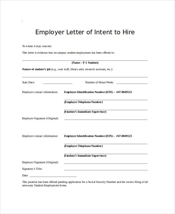 Letter Of Intent To Hire Template - Unitedijawstates - letter of intent to hire template