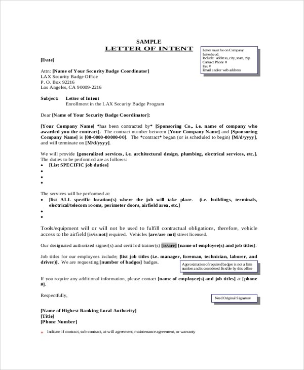 Sample Letter of Intent - 43+ Examples in PDF, Word - letter of intent for employment template