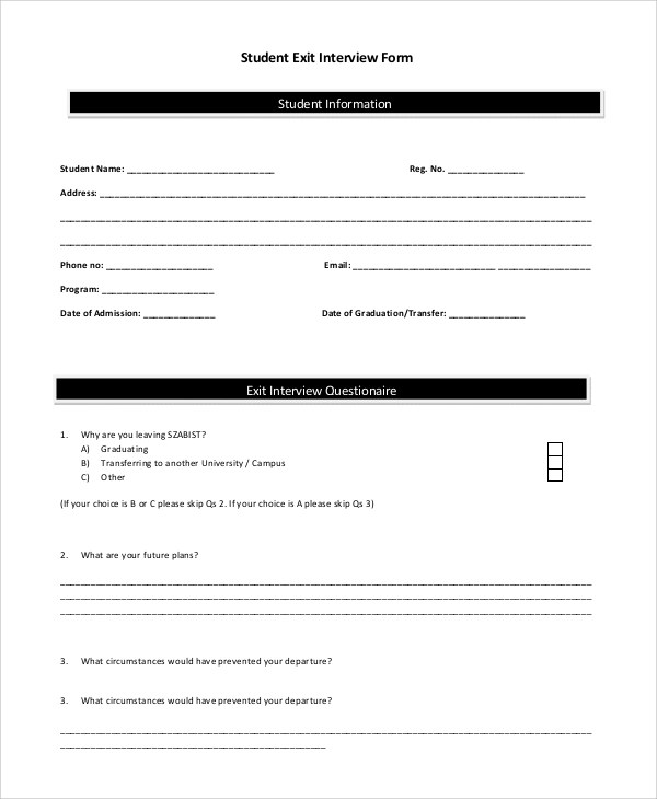 Sample Exit Interview Form - 10+ Examples in PDF, Word