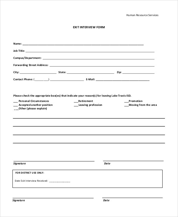 10+ Sample Exit Interview Forms Sample Templates