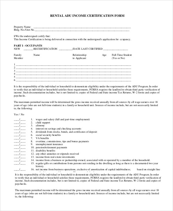 Sample Rental Verification Form - 10+ Examples in PDF, Word - income verification form