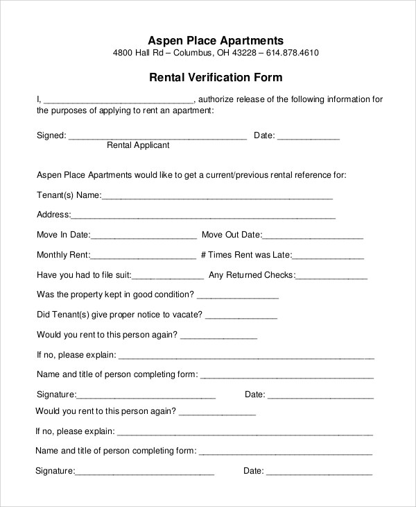 10+ Sample Rental Verification Forms Sample Templates - rental verification form