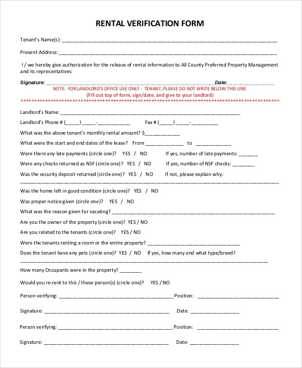 Basic Rental Agreement With Option To Buy – Rental Verification Form