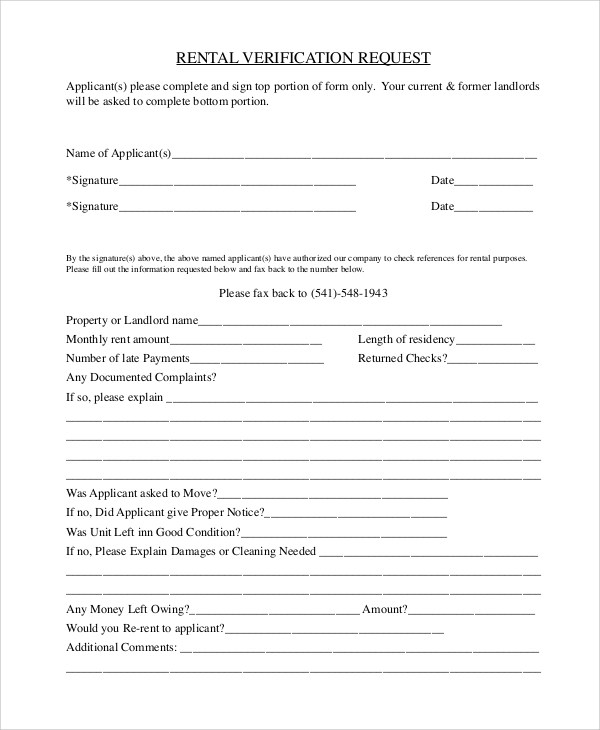 10+ Sample Rental Verification Forms Sample Templates