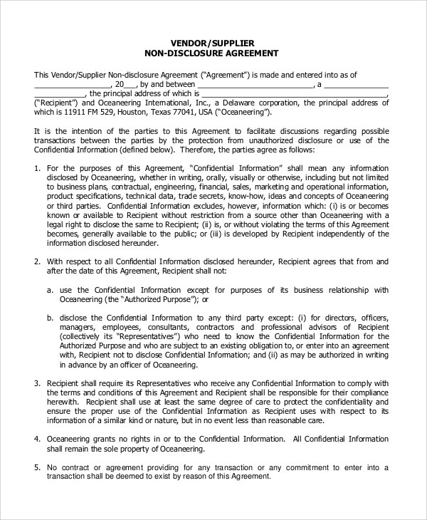 Sample Non Disclosure Agreement Form - 10+ Examples in PDF, Word - vendor confidentiality agreement