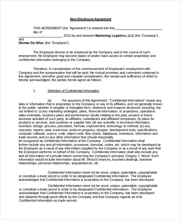 Sample Non Disclosure Agreement Form - 10+ Examples in PDF, Word - non disclosure agreement form