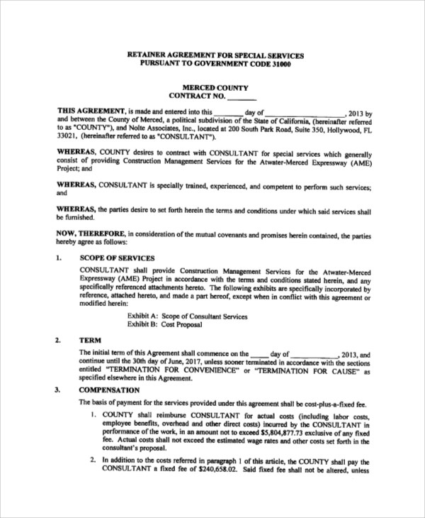 consulting services agreement sample with retainer - Boatjeremyeaton