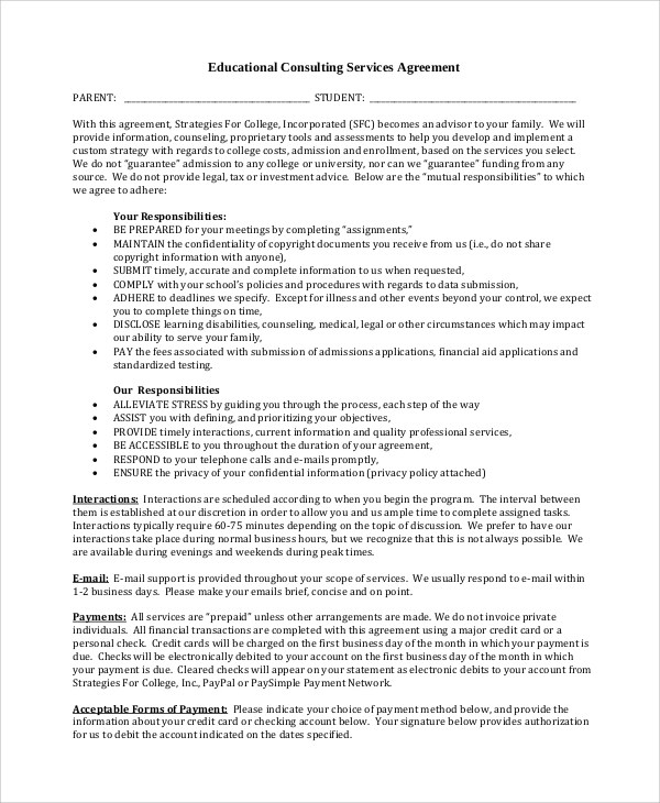 Sample Contract For Educational Consultant | Resume Format