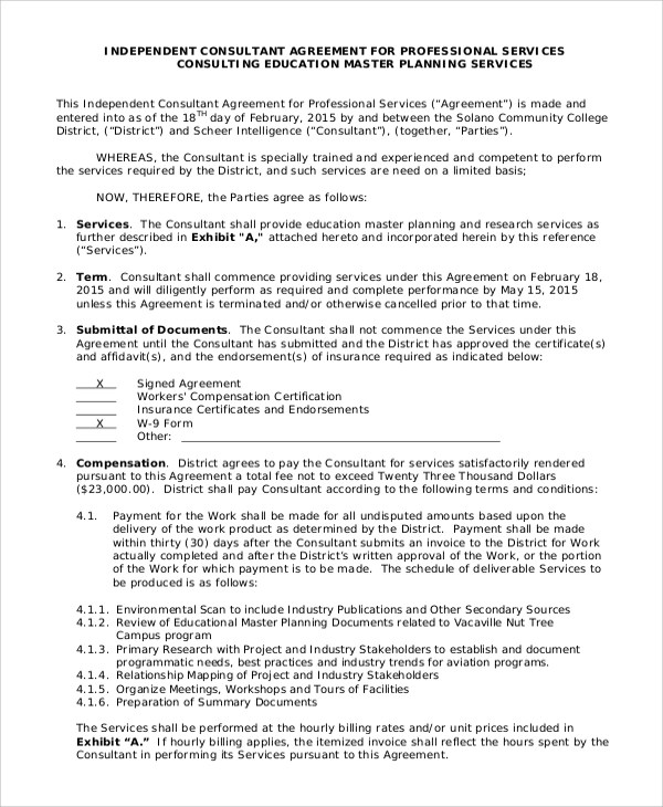 Consulting Agreement Independent Consultant Agreement Sample - business consultant agreement