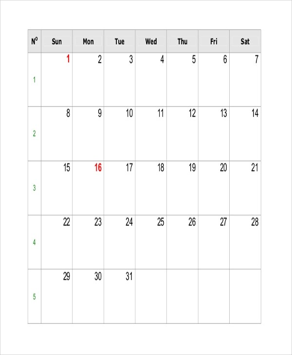 Sample Printable Calendar - 10+ Examples in Word, Excel, PDF - printable blank calendar
