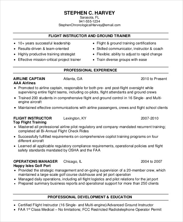 6+ Sample Flight Attendant Resumes Sample Templates - entry level flight attendant resume