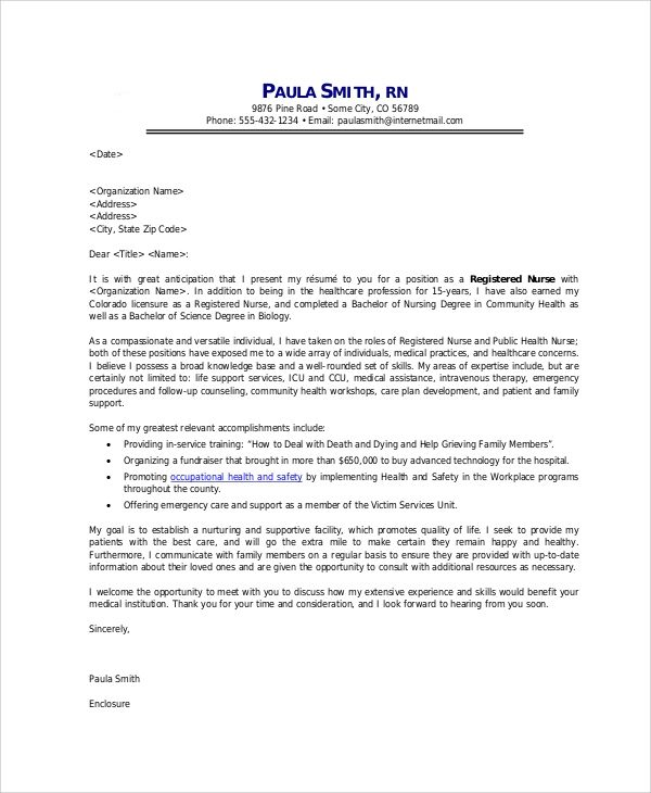 nurse cover letter format