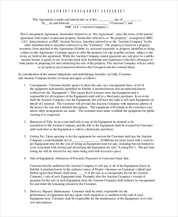 10+ Consignment Agreement Examples  Samples \u2013 PDF, Word Sample
