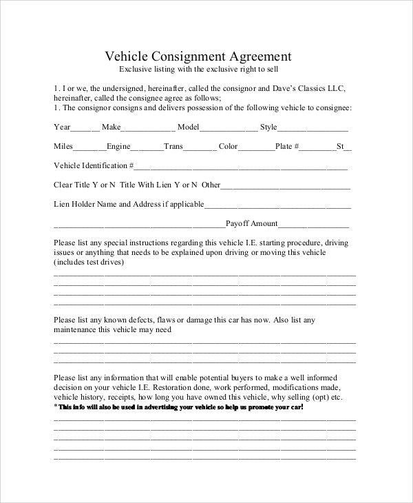 Sample Consignment Agreement - 10+ Examples in Word, PDF - consignment agreement template