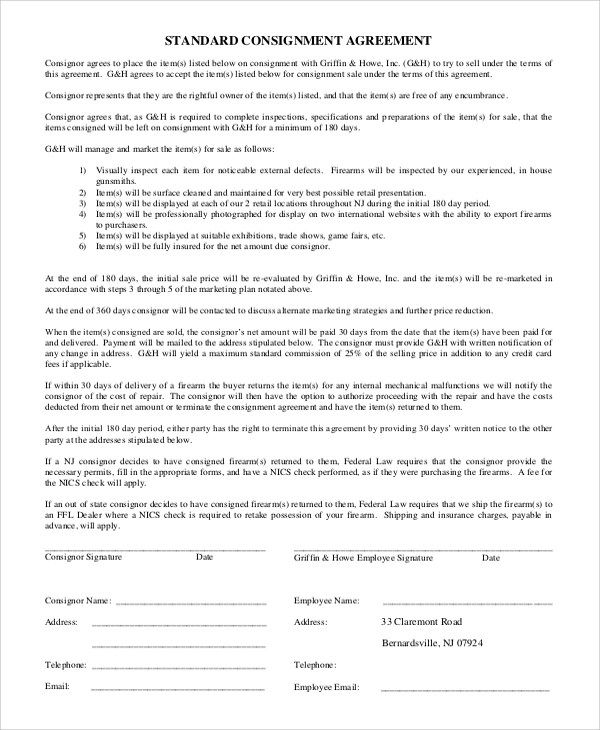 10+ Sample Consignment Agreements Sample Templates