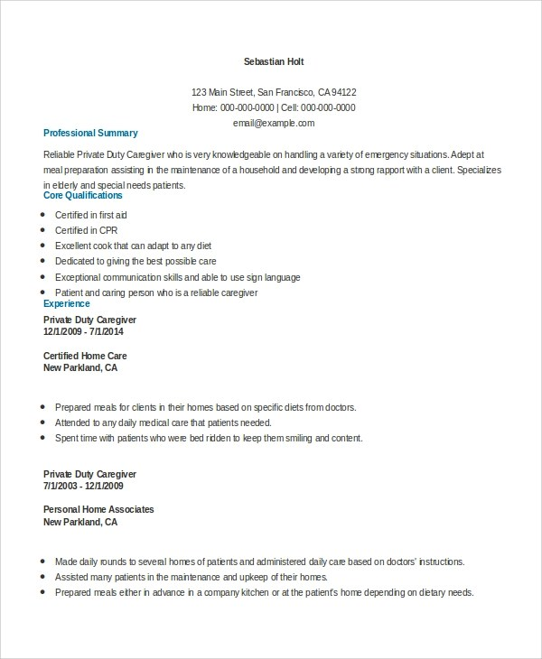 7+ Sample Caregiver Resumes Sample Templates
