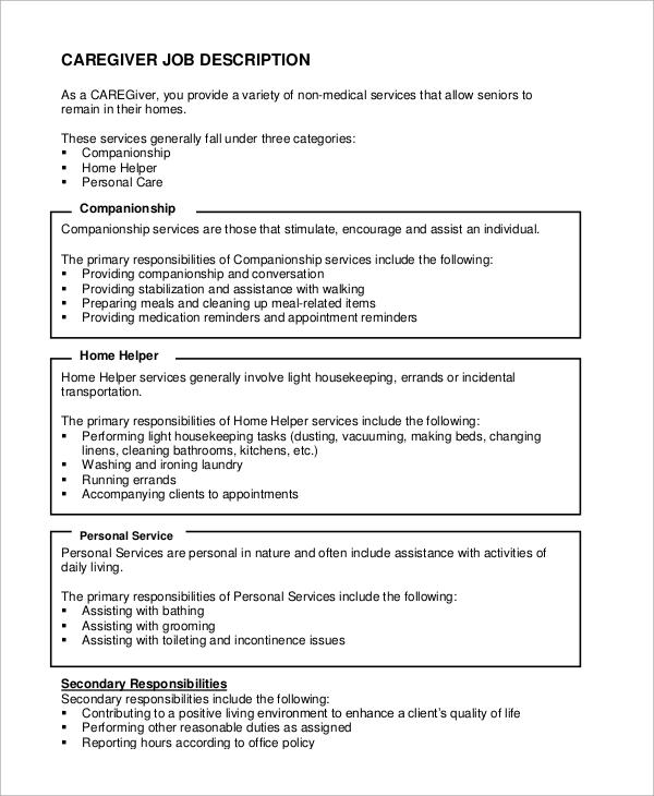 sample resume caregiver personal assistant