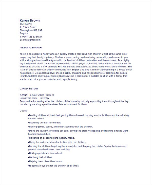 sample resume nanny babysitter