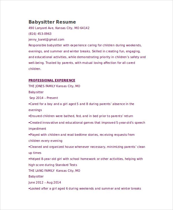 sample nanny resume ideas 3slufsluidsprekers