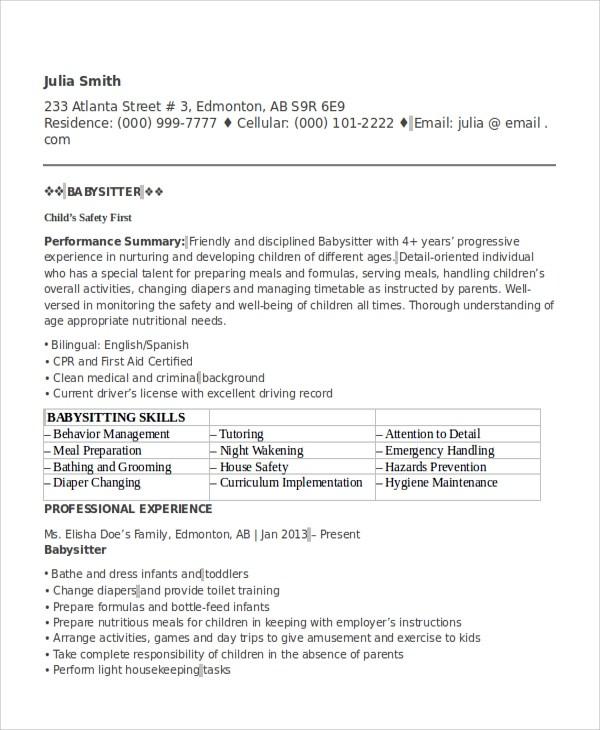 6+ Sample Babysitter Resumes Sample Templates - Babysitting On A Resume