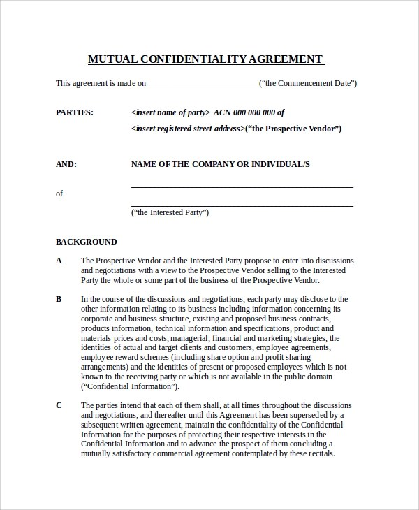 11+ Sample Confidentiality Agreement Forms Sample Templates
