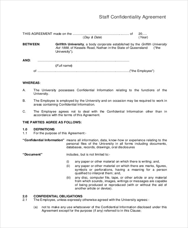 Sample Confidentiality Agreement Form - 11+ Examples in Word, PDF