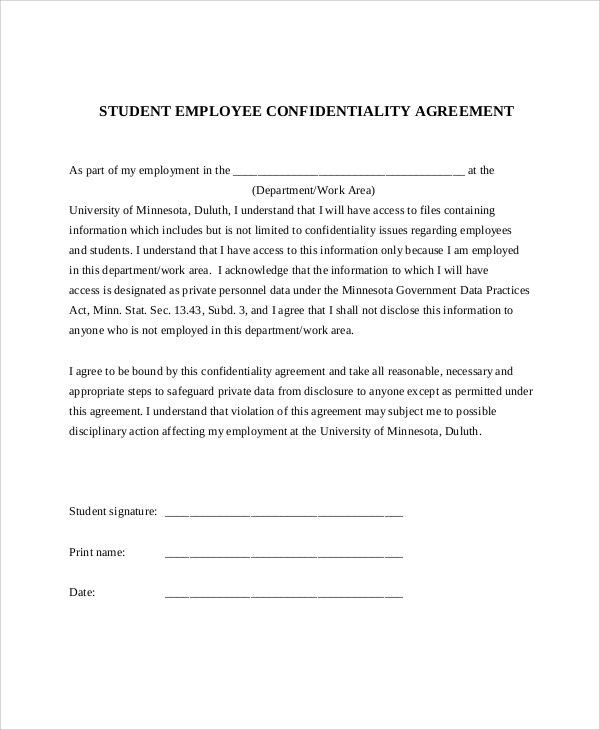 11+ Sample Confidentiality Agreement Forms Sample Templates - employee confidentiality agreement