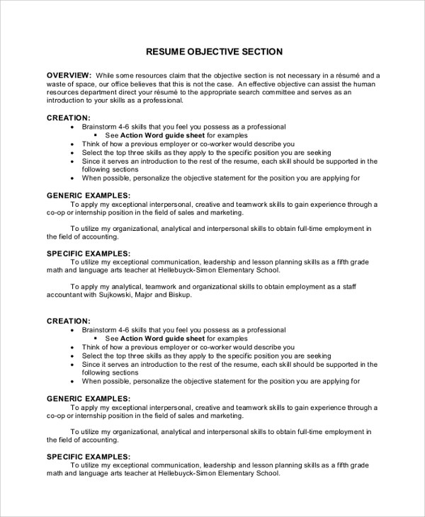 objective section resumes - Yelommyphonecompany - Objective Section In Resume