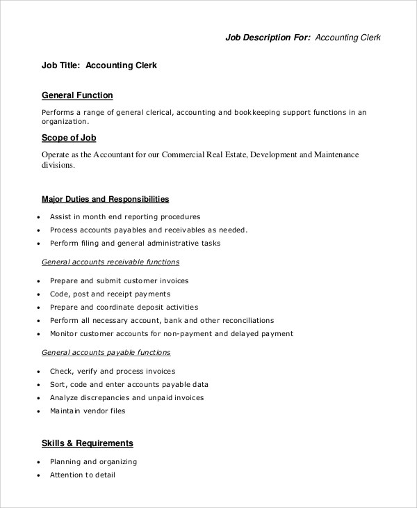 job description for accounting clerk - Vatozatozdevelopment - Accounting Job Titles