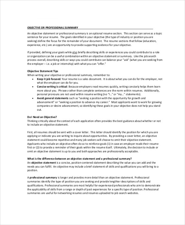 resume summary objective - Militarybralicious - resume summary section