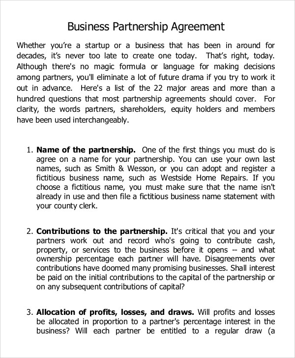 7+ Sample Business Partnership Agreements \u2013 PDF, DOC Sample Templates