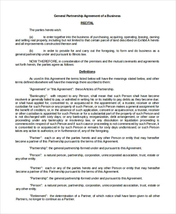 General Partnership Agreement general partnership agreement - 9+ - business partnership contract